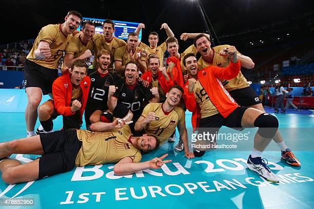 Germany players celebrate as they win gold after the Men's gold medal match between Bulgaria and Germany on day sixteen of the Baku 2015 European...