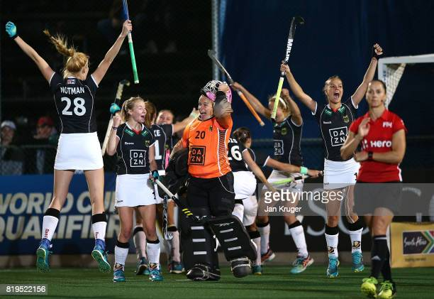 Germany players celebrate at the final whistle after victory during day 7 of the FIH Hockey World League Women's Semi Finals semi final match between...