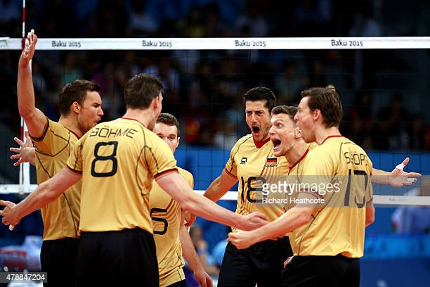 Germany players celebrate during the Men's gold medal match between Bulgaria and Germany on day sixteen of the Baku 2015 European Games at Crystal...