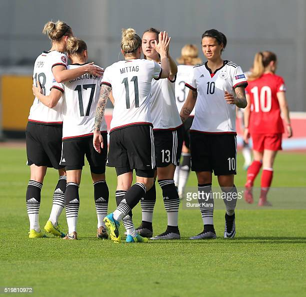 Germany players celebrate their goal against Turkey during UEFA Women's Euro 2017 Qualifier match between Turkey and Germany in Istanbul on April 8...