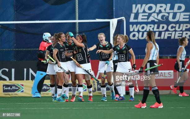 Germany players celebrate their secon goal during the semi final match between Germany and Argentina at Wits University on July 20 2017 in...