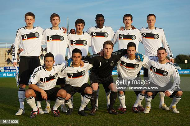 Germany players line up before the U19 international friendly match between Germany and Norway on February 5 2010 in La Manga Spain