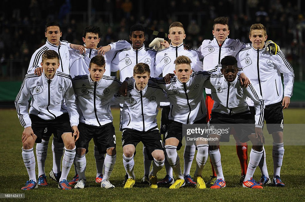 Germany players line up for a team photo prior the U16 international friendly match between Germany and Italy on March 5, 2013 at Waldstadion in Homburg, Germany.