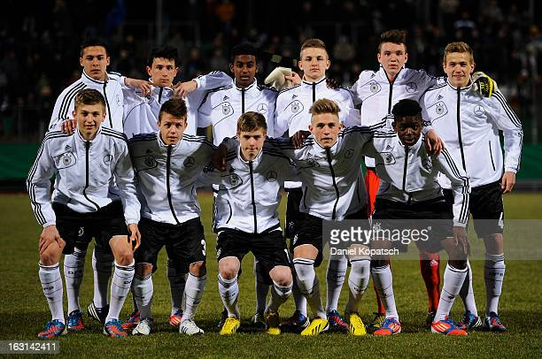 Germany players line up for a team photo prior the U16 international friendly match between Germany and Italy on March 5 2013 at Waldstadion in...