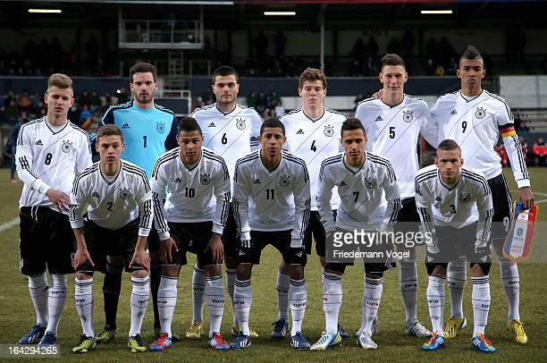 Germany players line up for team photo before the U18 International Friendly match between Germany and France at MEP Arena on March 22 2013 in Meppen...