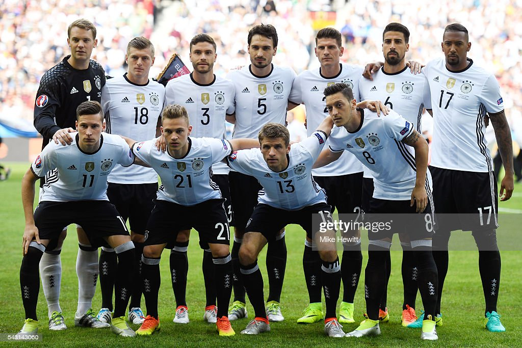 Germany players line up for the team photos prior to the UEFA EURO 2016 round of 16 match between Germany and Slovakia at Stade Pierre-Mauroy on June 26, 2016 in Lille, France.