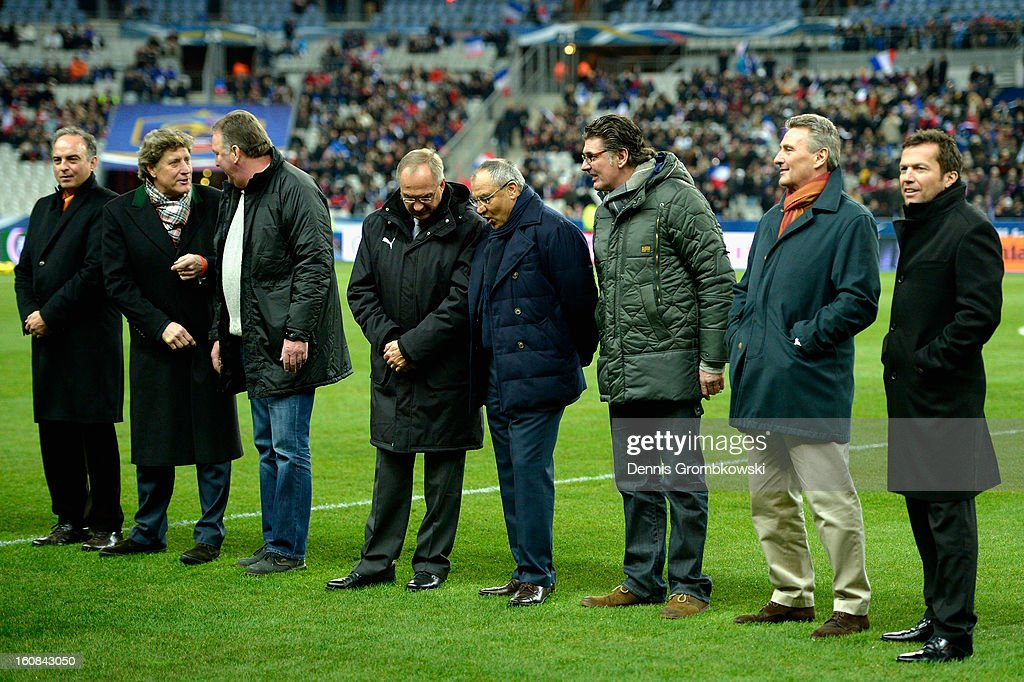 Germany players of 1982 line up on the pitch during a meeting of the 1982 World Cup teams of France and Germany on February 6, 2013 in Paris, France.