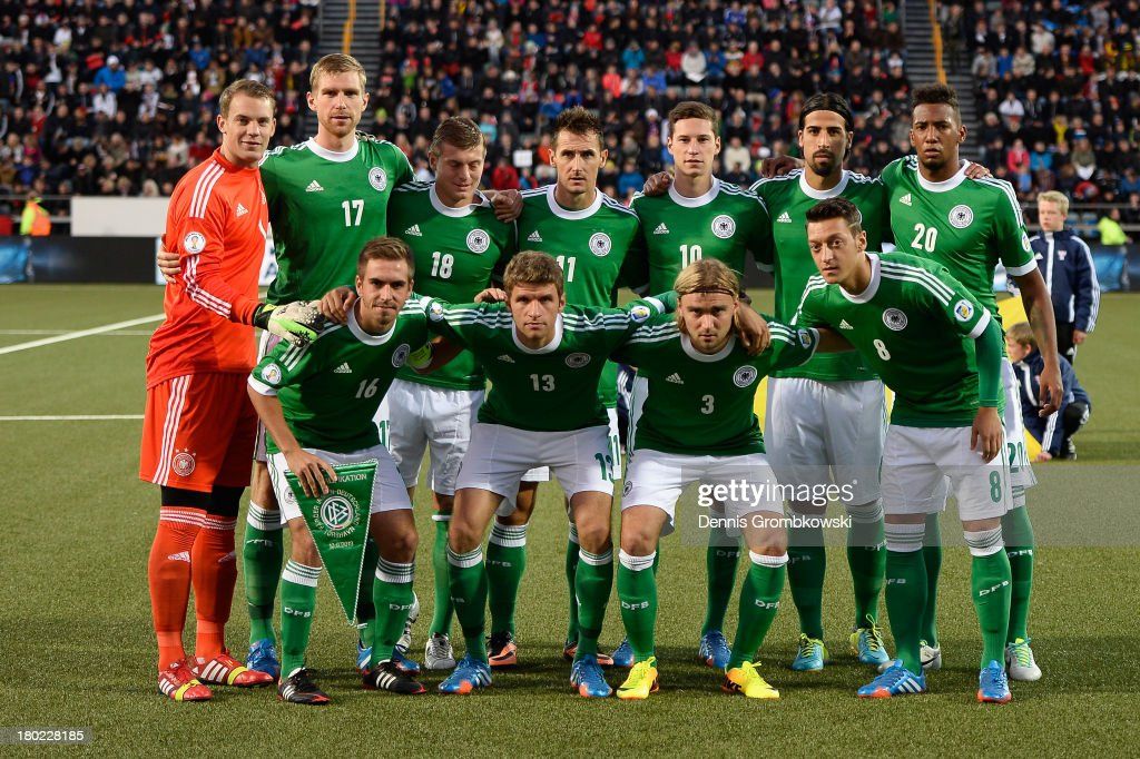 Germany players pose during the FIFA 2014 World Cup Qualifier match between Faeroe Islands and Germany on September 10, 2013 in Torshavn, Denmark.
