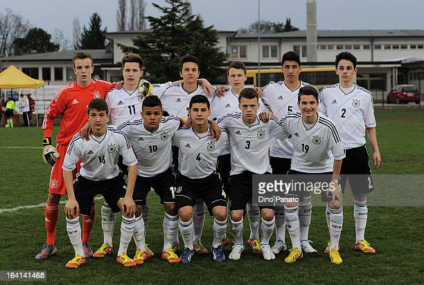 Germany players pose for a team photo prior to the International U15 tournament match between U15 Scotland and U15 Germany at San Giorgio Stadium on...