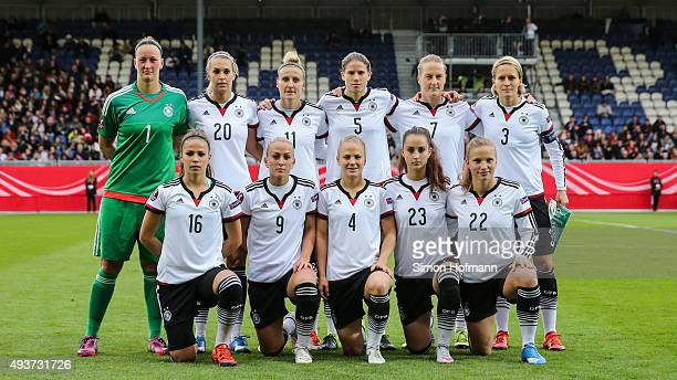 Germany players pose for a team photo prior to the UEFA Women's Euro 2017 Qualifier match between Germany and Russia at BRITAArena on October 22 2015...