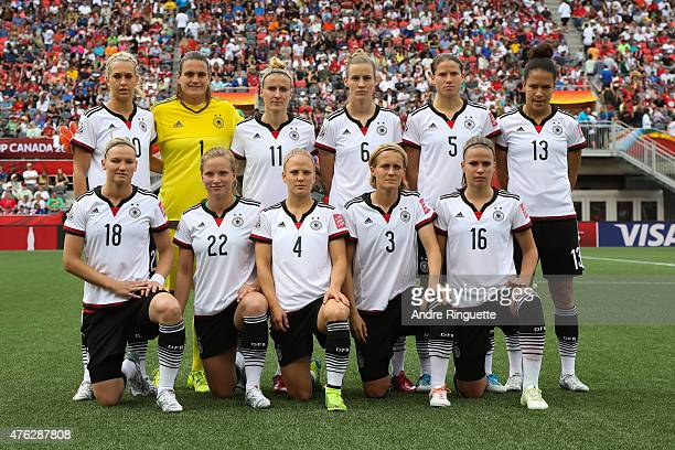 Germany players pose prior to kickoff during of Cote d'Ivoire during the FIFA Women's World Cup Canada 2015 Group B match between Germany and Cote...