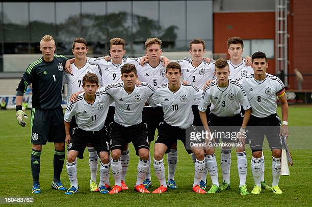 Germany players pose prior to the Under 16 Juniors International Friendly match between U16 Belgium and U16 Germany at Damburg Stadium on September...