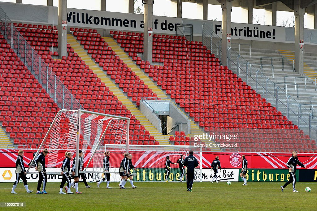 Germany players practice during a training session ahead of their match against the United States of America on April 4, 2013 in Frankfurt am Main, Germany.