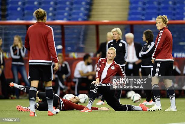 Germany players practice during a training session at Olympic Stadium ahead of their semi final match against the United States on June 29 2015 in...
