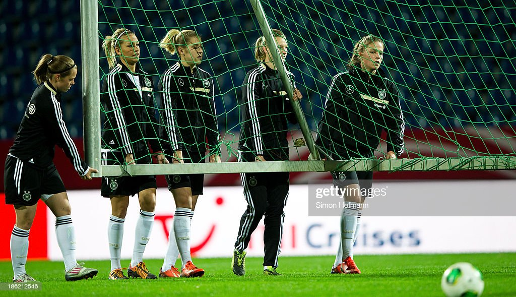 Germany players prepare for a Germany training session at Volksbank Stadion on October 29, 2013 in Frankfurt am Main, Germany.