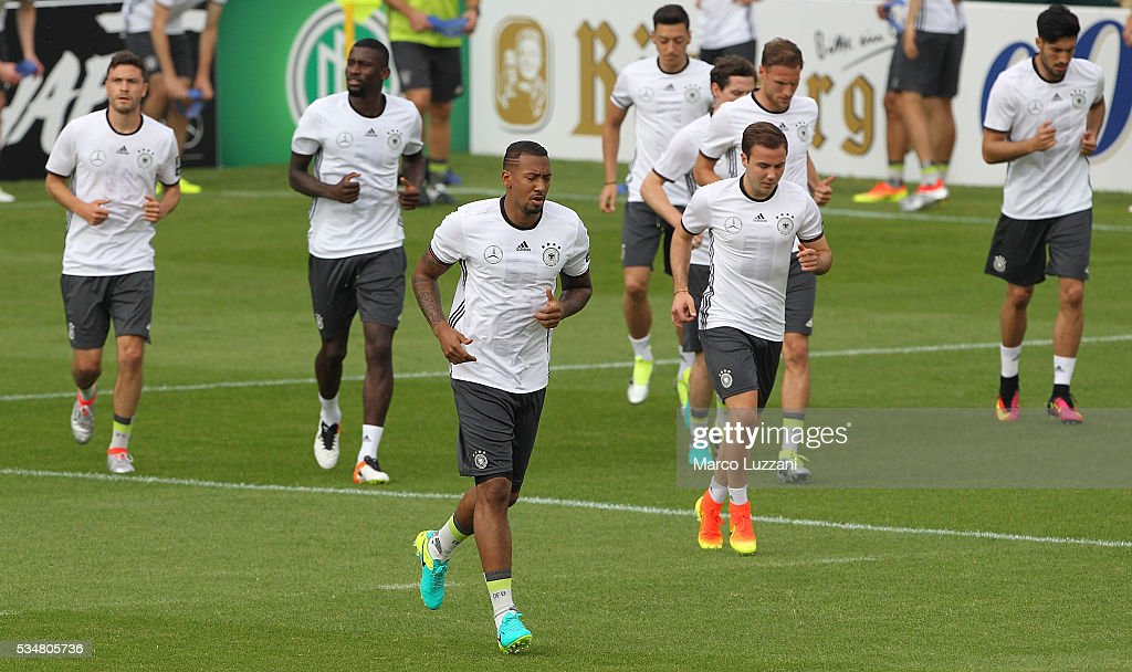 Germany players run during the German national team's pre-EURO 2016 training camp on May 28, 2016 in Ascona, Switzerland.