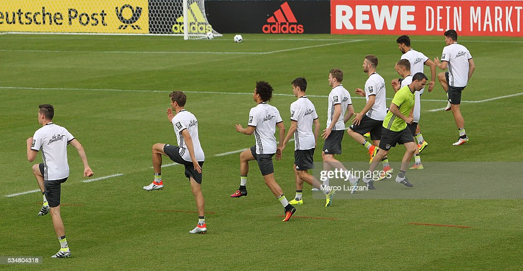 Germany players train during the German national team's pre-EURO 2016 training camp on May 28, 2016 in Ascona, Switzerland.