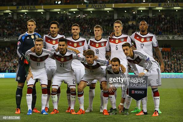 Germany pose for a team photo during the UEFA EURO 2016 Qualifier group D match between Republic of Ireland and Germany at the Aviva Stadium on...