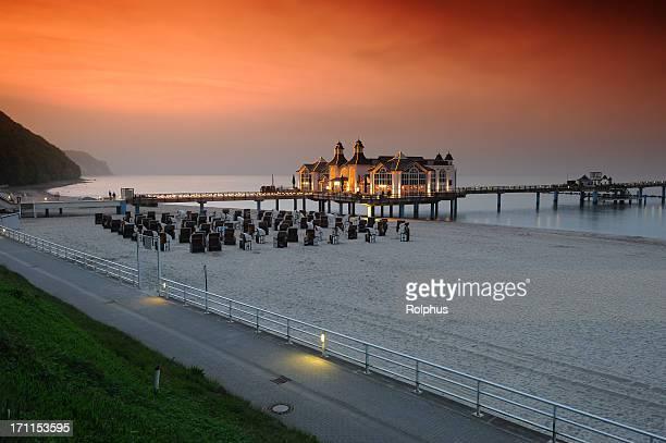 Deutschland Rügen Sand Beach Pier Sellin Sommer Sonnenuntergang