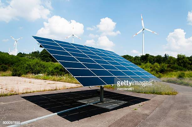 Germany, Rhineland Palantine, Morbach, Solar panel and wind turbines