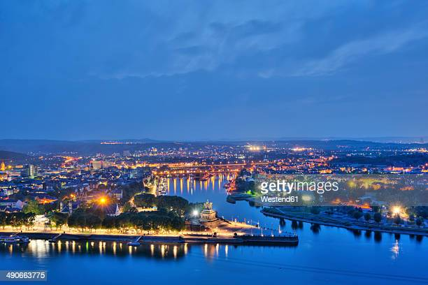 Germany, Rhineland Palatinate, Koblenz, View of German Corner in the evening