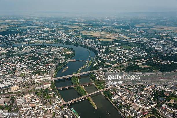 Germany, Rhineland-Palatinate, aerial view of Koblenz with Moselle River