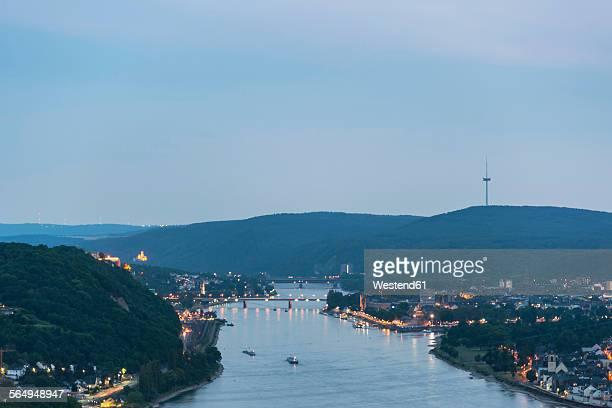 Germany, Rhineland-Palatinate, Koblenz, Deutsches Eck and Stolzenfels Castle