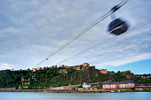 Germany, Rhineland-Palatinate, Koblenz, Ehrenbreitstein Fortress and cable car