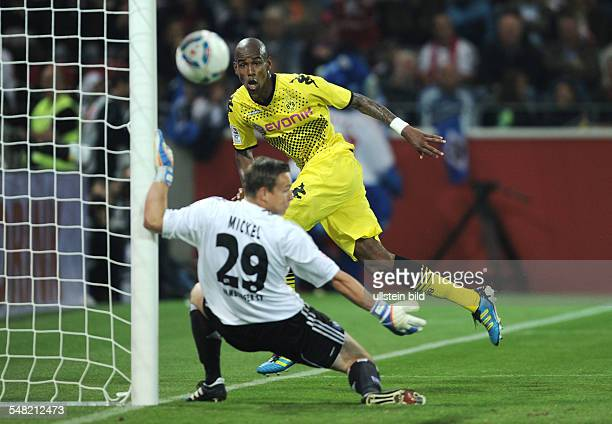Germany RhinelandPalatinate Mainz Liga total Cup 2011 final Hamburger SV v Borussia Dortmund 02 Dortmund's Felipe Santana heading his side's first...