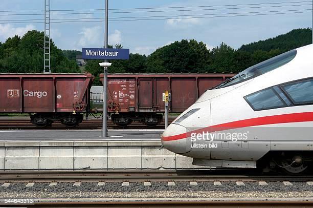 Germany RhinelandPalatinate Montabaur freight train of the DB at the ICE railway station