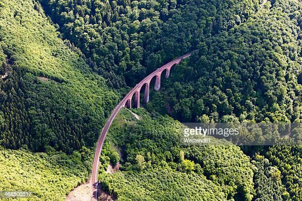 Germany, Rhineland-Palatinate, View of the Hubertus Viaduct of Hunsrueck Railway, aerial photo