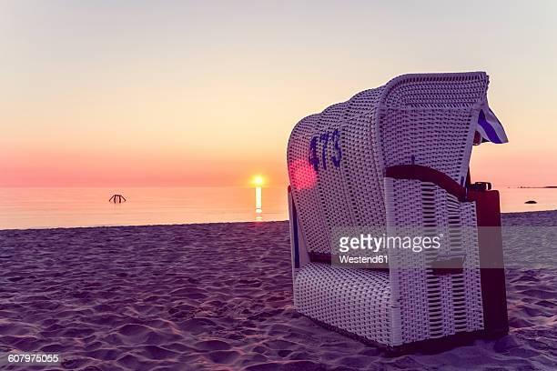 Germany, Ruegen, Binz, beach at sunset