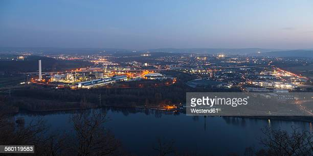 Germany, Ruhr area, Hagen, combined heat and power station at dusk