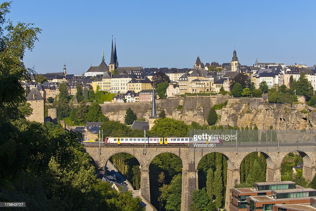Germany, Saarland, Train, viaduct, cityscape, Luxemburg City
