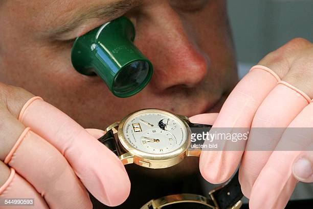 Germany Sachsen Saxony Glashuette Lange Sons watch manufactory watchmaker at work