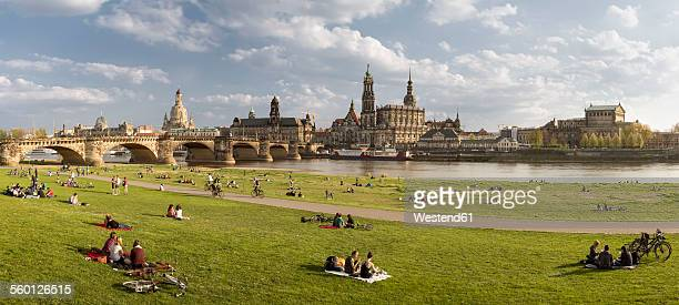 Germany, Saxony, Dresden, historic city center at River Elbe