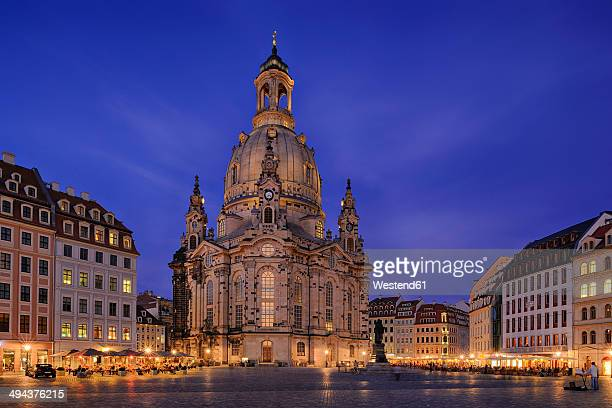 Germany, Saxony, Dresden, view to lighted Church of Our Lady at Neumarkt square