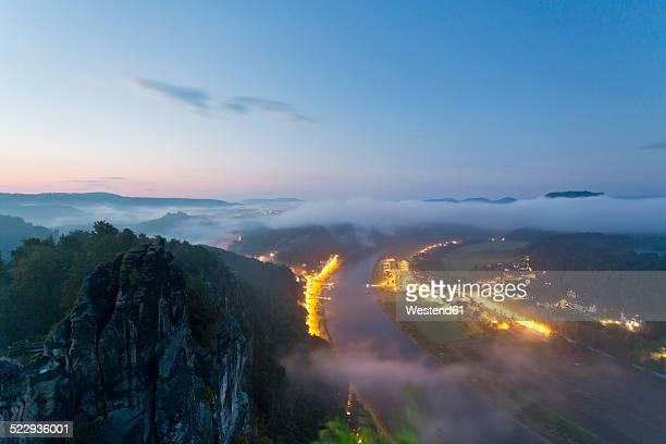 Germany, Saxony, Elbe Sandstone Mountains, view from Bastei to Rathen at Elbe River