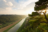 Germany, Saxony, Elbe Sandstone Mountains, view to Wartturm and Elbe River