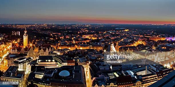 Germany, Saxony, Leipzig, City center at sunset