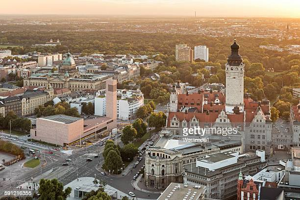 Germany, Saxony, Leipzig, View to New Townhall, St. Trinitatis and Federal Administrative Court at sunset