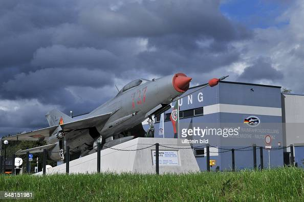 Germany Saxony MorgenroetheRautenkranz exhibition of the German aerospace in front the fighter MIG2 which was aviated by Sigmund Jaehn