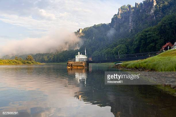 Germany, Saxony, Rathen, ferry driving on Elbe river