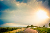 Germany, Saxony, Road through farm land
