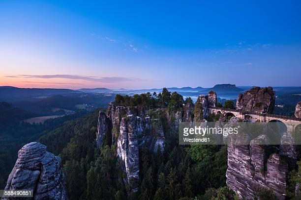 Germany, Saxony, Saxon Switzerland National Park, Elbe Sandstone Mountains and Bastei at dawn