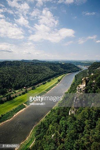 Germany, Saxony, Saxon Switzerland, Sandstone formations at River Elbe