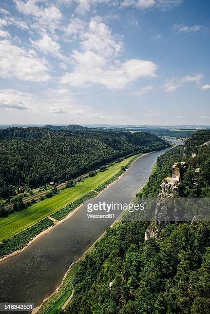 Germany, Saxony, Saxon Switzerland, Sandstone formations at River Elbe
