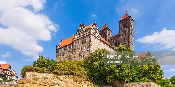 Germany, Saxony-Anhalt, Quedlinburg, Castle and St. Servatius church on castle hill