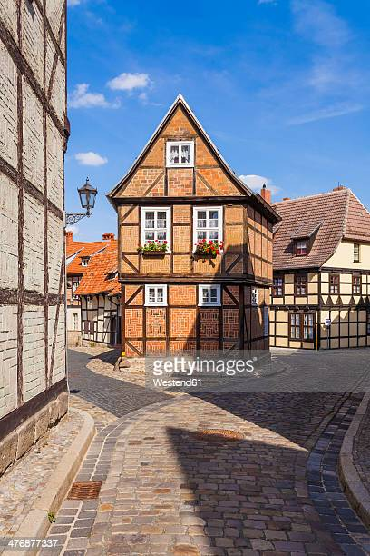 Germany, Saxony-Anhalt, Quedlinburg, Timber-framed houses at Finkenherd