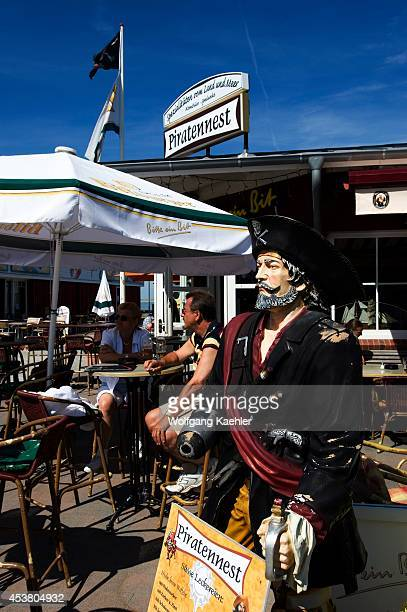 Germany Schleswig Holstein North Sea North Frisian Islands Sylt Island List Warf Pirate Statue At Restaurant